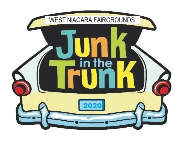 Junk in the trunk 2020 logo, a car with items spilling out of the trunk